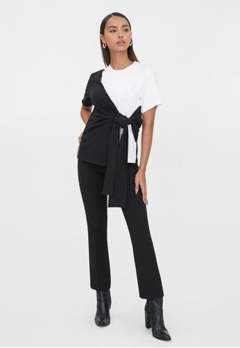 Pomelo black Sustainable Two Tone Waist Tie Tee - Black/White E41F2AA9228346GS_1