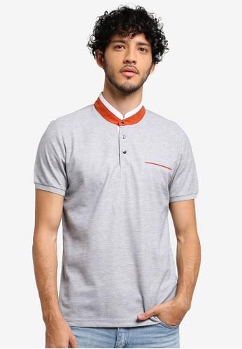 JAXON grey Grandad Collar Polo Shirt 38C78AAD1CFB83GS_1