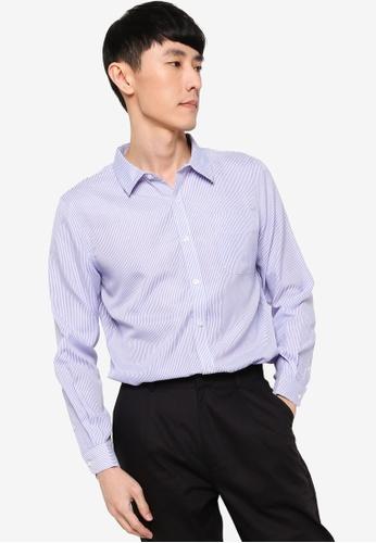 ZALORA BASICS blue Regular Button Down Stripe Oxford Shirt 8BEEEAA458148AGS_1