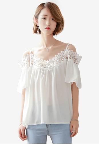 Macerioesprit台灣網頁 蕾絲挖肩短袖吊帶上衣, 服飾, 上衣