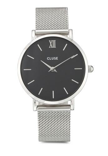 CLUSE silver Minuit Mesh Silver/Black DE2C6AC45B748DGS_1