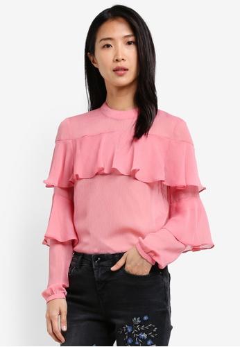 Esprit pink Woven Long Sleeve Blouse ES374AA0SAXYMY_1