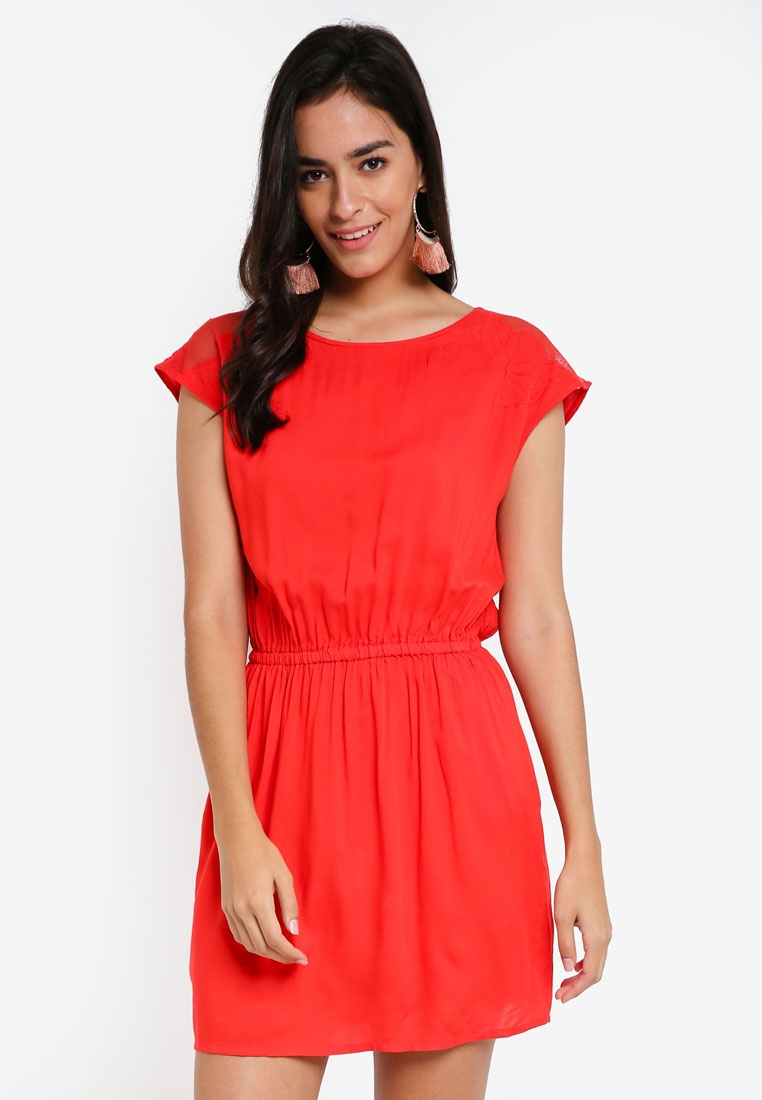 Short Vero S Moda Poppy Dress Alva S Red 4HgxnqE