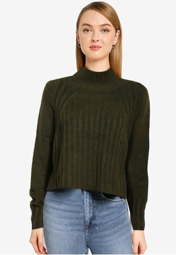 TOPSHOP green Khaki Ribbed Cropped Knitted Jumper CF0DFAA91E0C11GS_1