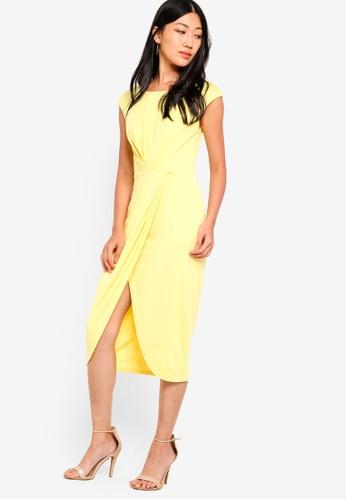 ZALORA yellow Pleated Midi Dress 66D4EAA67FEE14GS_1