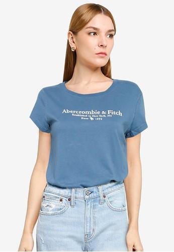 Abercrombie & Fitch blue Short Sleeves Logo Tee 80BCBAA6B5AB14GS_1