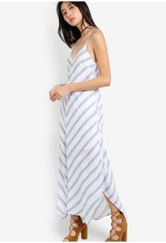 Something Borrowed-細肩帶條紋不規則裙擺連身長裙