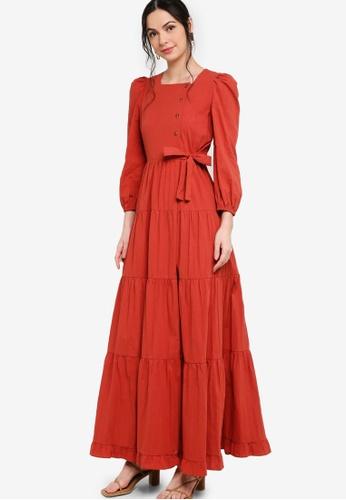 Zalia brown Puff Sleeve Tiered Dress 31615AAD775396GS_1