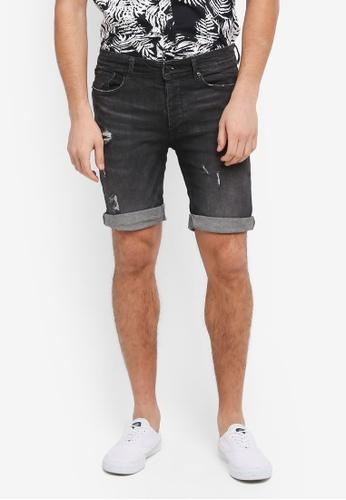 Burton Menswear London black Wash Rip Shorts BE3F8AA4D8D9E1GS_1
