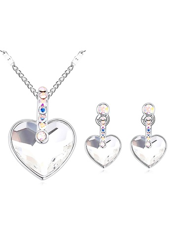 LOVENGIFTS white and silver LOVENGIFTS Angelic Heart Necklace And Earrings Set (White) LI189AC10MWNMY_1