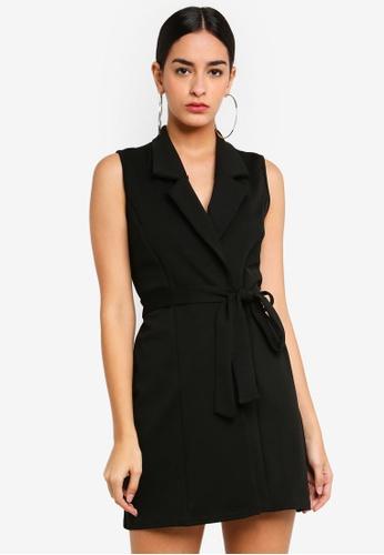 MISSGUIDED 黑色 無袖腰帶西裝洋裝 81ED6AA20CF81FGS_1
