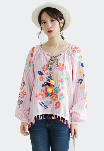 Shopsfashion white and pink Embroidery Boho Top in Pink Strip 8278AAA295E6C9GS_1