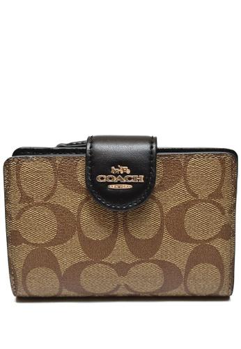 COACH brown Coach Medium Corner Zip Wallet In Signature Canvas - Brown/Black 9FED5AC920CD97GS_1