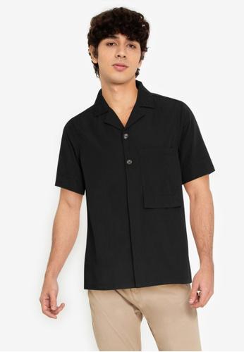 ZALORA BASICS black Long Rectangle Pocket Shirt 2E7D0AA6253C64GS_1