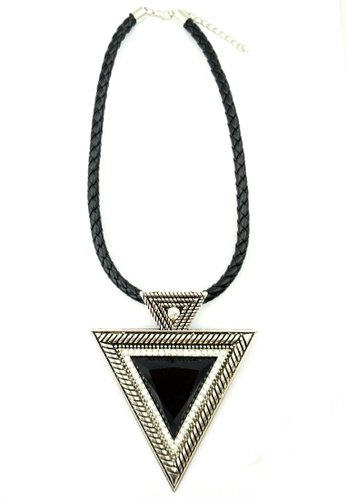 YOUNIQ silver YOUNIQ-Basic Big Triangle Gemstone Geometric Statement Necklace (Silver) YO999AC79TFGMY_1