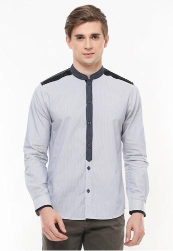LGS grey LGS - Slim Fit - Baju Koko - Tekstur Salur Halus - Abu C36B8AA59670C5GS_1