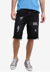 Factorie black Shredded Shooter Shorts FA880AA79XRKMY_1