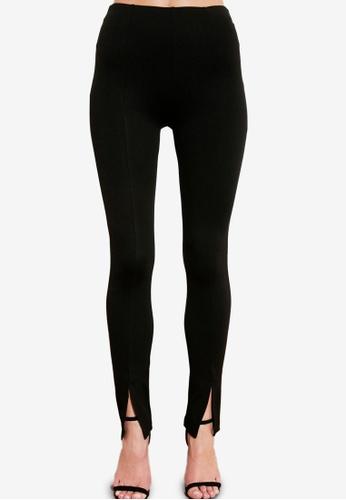 Trendyol 黑色 開衩細節 Front 針織長褲 70DB2AA1250F5DGS_1