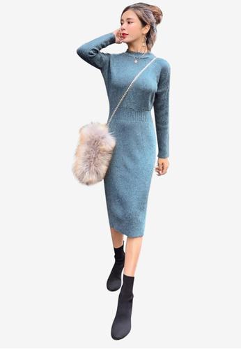 Lara blue Split Cutting Knitting Dress EA9CDAAF256F53GS_1