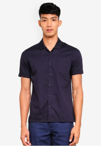 OVS 藍色 短袖口袋襯衫 9FB25AAED784DBGS_1