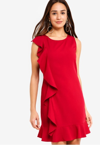 ZALORA red Ruffle Drop Hem Dress 07A77AA1905707GS_1