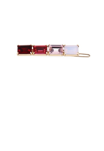 Glamorousky red Simple Temperament Plated Rose Gold Geometric Red Multicolor Cubic Zirconia Hair Clip 0A90CAC9B6196BGS_1