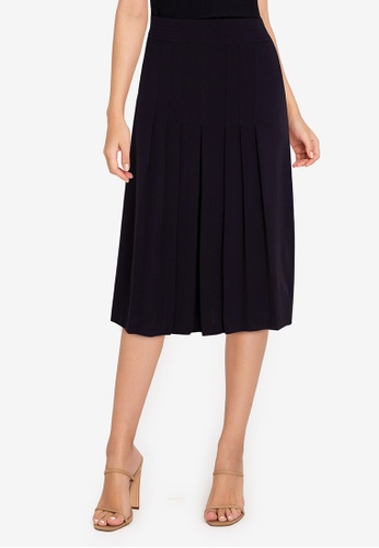ZALORA WORK black Pleated Front Skirt 062E1AA32BE183GS_1