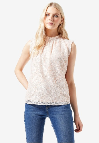 Dorothy Perkins pink Blush Lace Ruffle Shell Top CE52BAAC299472GS_1