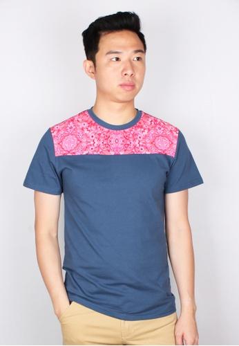 Moley blue Floral Print Panel T-Shirt D93FCAA4F0E356GS_1