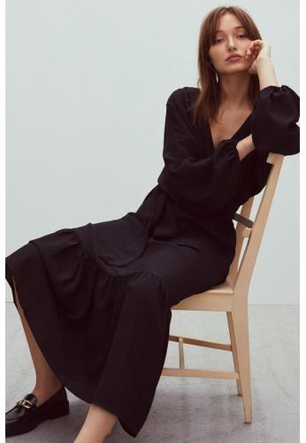 H&M black Long wrap dress EF963AADCDF5E7GS_1
