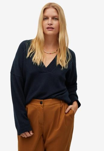 Violeta by MANGO blue V-Neck Sweater 8A06FAAABEB4B1GS_1