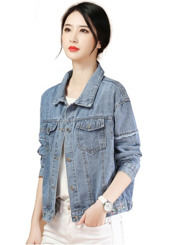 A-IN GIRLS blue Fashion Embroidered Denim Jacket 3295EAA6EF8782GS_1