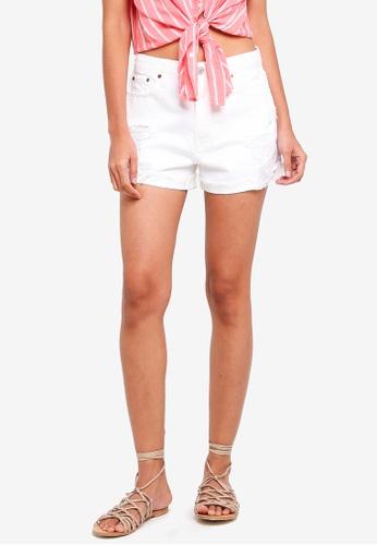 Abercrombie & Fitch white White Destroy Annie Rigid Shorts CF2D3AAB5F84B2GS_1