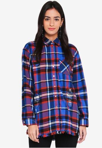 River Island blue Blue Check Print Oversized Shirt 4E300AA1A19EE9GS_1