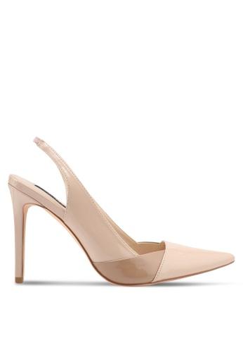 ZALORA 米褐色 漆皮雙色拼接露踝高跟鞋 0AA3DSH3FB4746GS_1