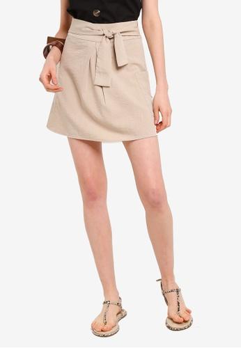Tula Cruz beige Textured Front Tie Mini Skirt 3B98AAA95D25F8GS_1