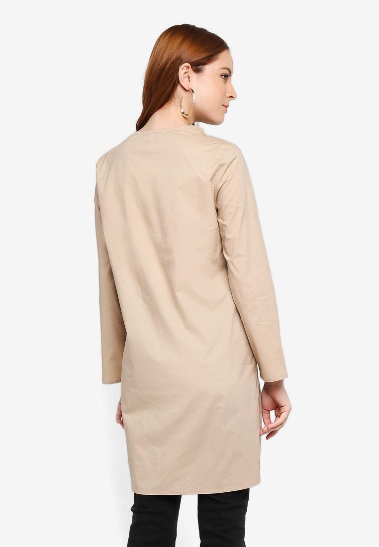 Zalia Neck Tunic Khaki Line Smocked x00PvwTrq