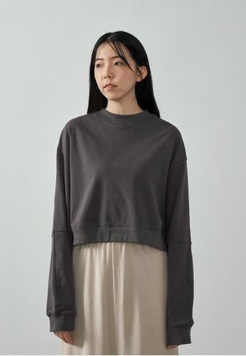 We Enjoy Simplicity grey Sport Lounge Long Sleeve Pullover (Grey Stone) 405B4AA4C515A6GS_1