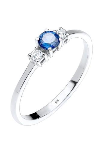 Elli Germany blue Perhiasan Wanita Perak Asli - Silver Cincin Zirconia Sapphire 062D7AC444DBFAGS_1