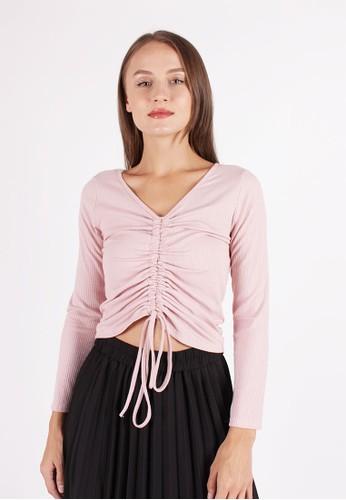 MAGNOLIA pink Drawstring Blouse 1F1DDAAEBEC4C6GS_1