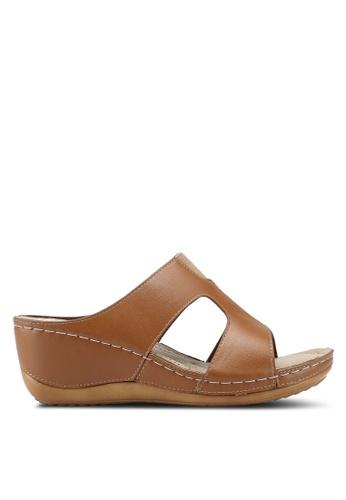 Bata 褐色 休閒楔型涼鞋 5C52ASHE176273GS_1
