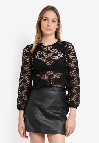 Miss Selfridge black Petite Black Long Sleeve Lace Blouse MI665AA0RZHDMY_1