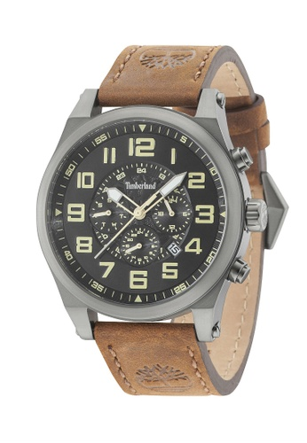 Timberland Watches brown Timberland Multifunction Day & Date Brown Leather Strap Watch TBL.15247JSU/02 E01BDAC6780798GS_1