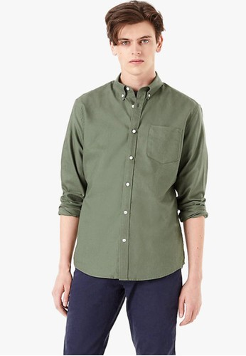 MARKS & SPENCER green Pure Cotton Oxford Shirt with Pocket 87A57AA08728A2GS_1
