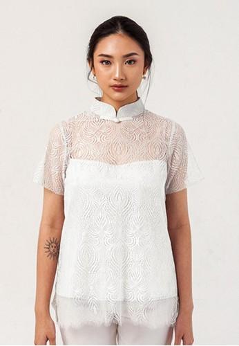 Mandarin Peony Cheongsam white Mandarin Peony LOVE GOOD WHITE Lace Cheongsam Blouse 895BAAACE0D847GS_1