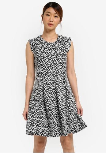 UniqTee black Monochrome Fit And Flare Dress UN097AA0SHDPMY_1