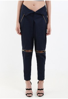 [PRE-ORDER] Navy Blue Twill High-waist Semi-skinny Pants with Knee Opening