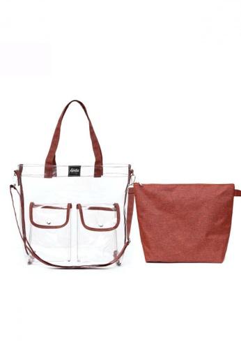 The Adventure brown and orange Quarantote Transparent Bag 2475EACC66E27BGS_1