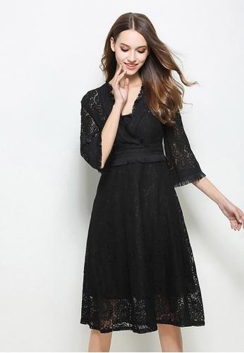 Sunnydaysweety black V Collar Lace One Piece Dress CA021624BK SU219AA0GQ6QSG_1
