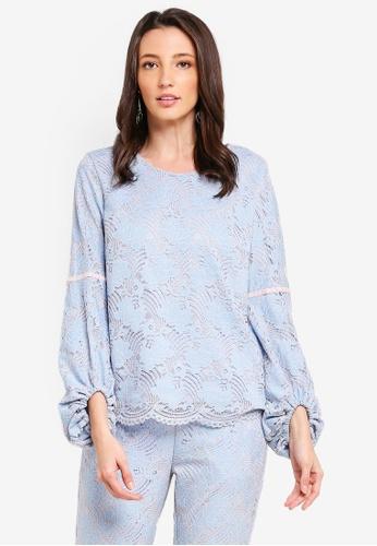 Zalia blue Lace Blouse with Velvet Trim 833FBAA018E7B8GS_1